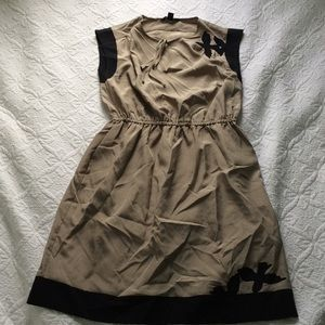 Banana Republic tan and black bird dress size 0